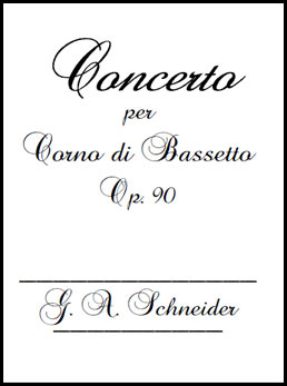 Schneider - Basset Horn Concerto - Op. 90